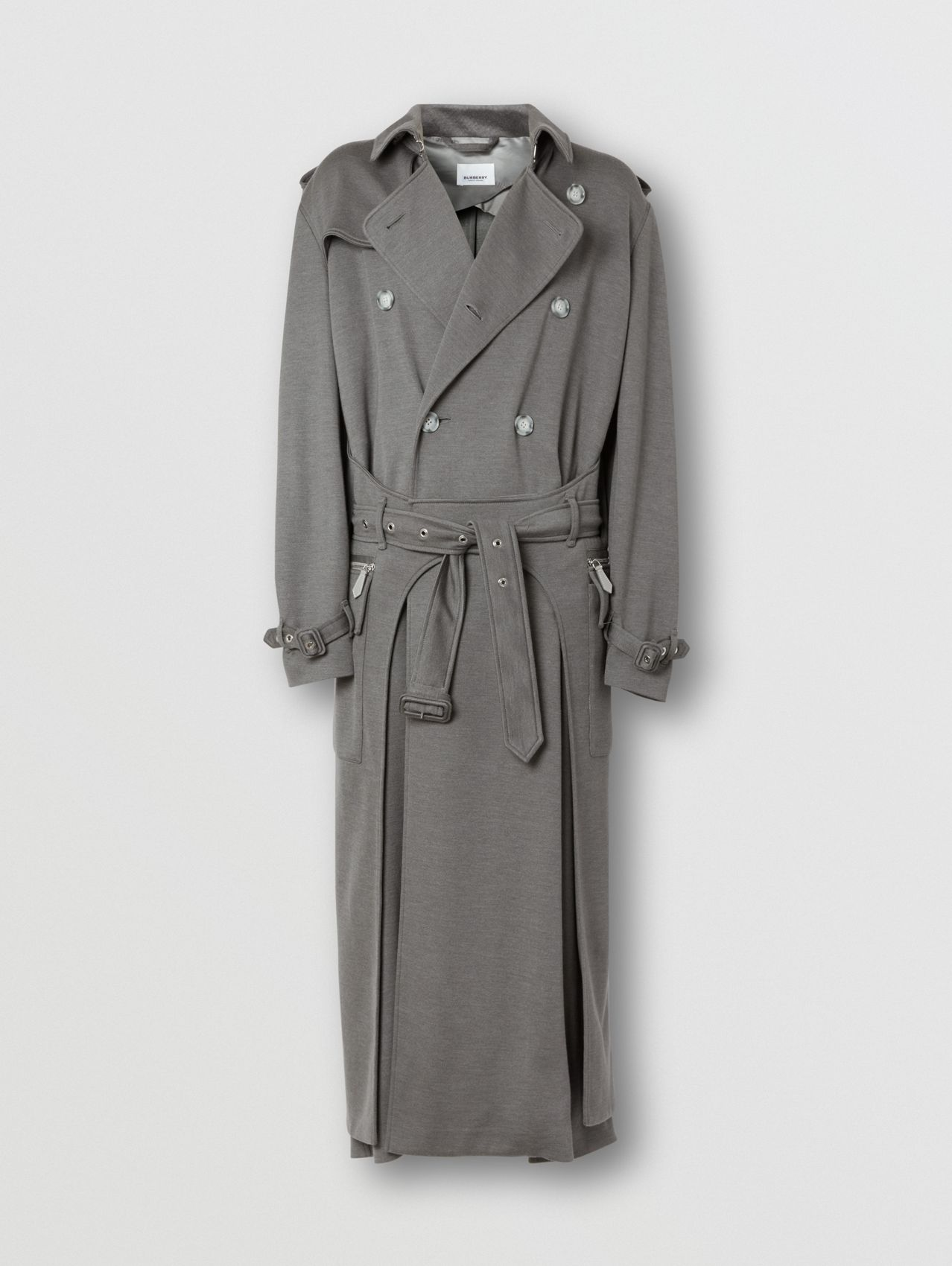 Cargo Pocket Detail Cashmere Silk Trench Coat (Cloud Grey)