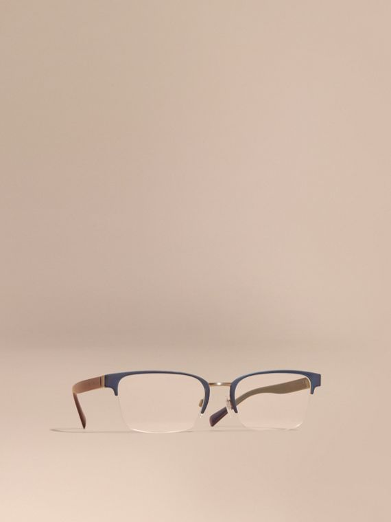 Half-rimmed Rectangular Optical Frames Dark Navy