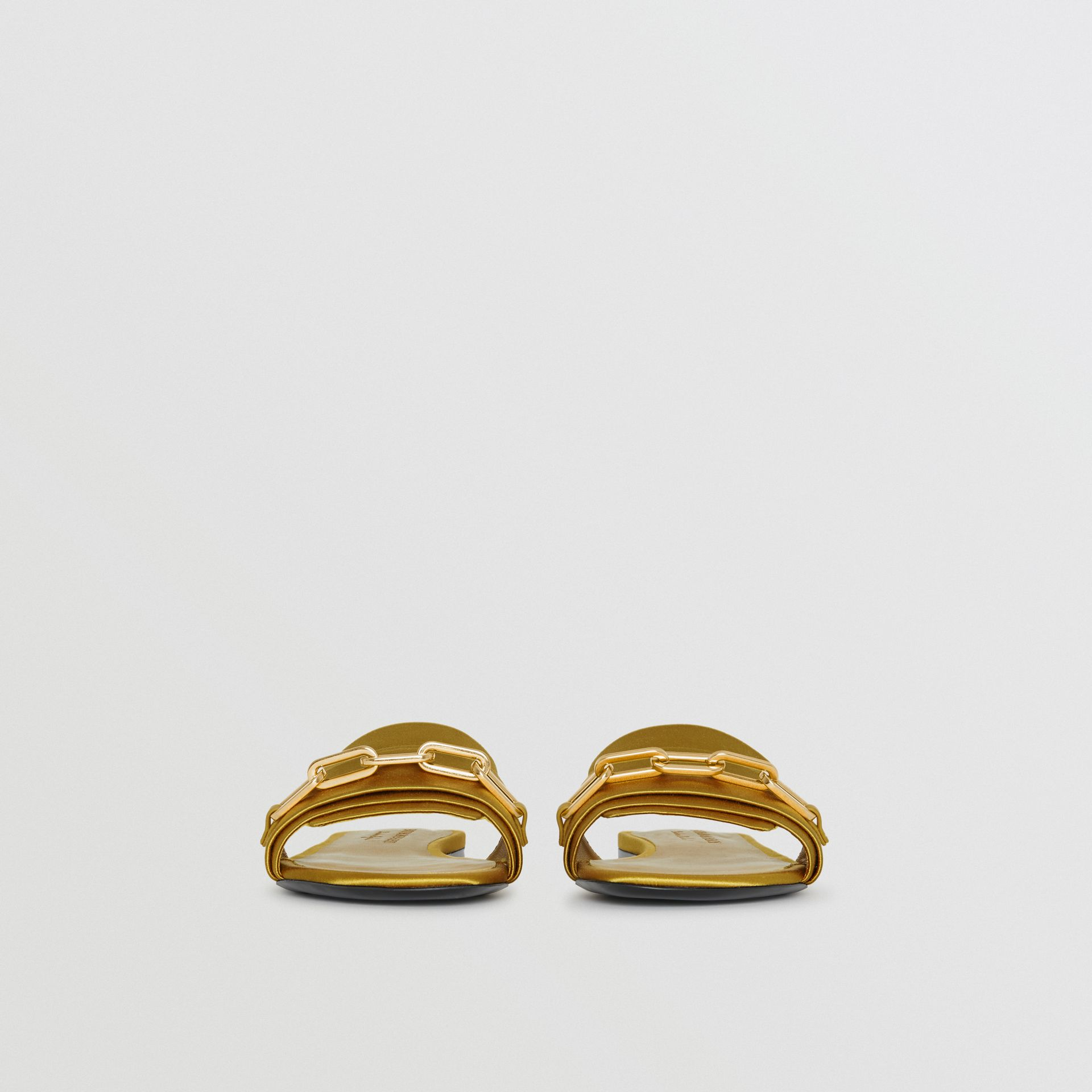 Link Detail Satin and Leather Slides in Antique Yellow - Women | Burberry Australia - gallery image 3