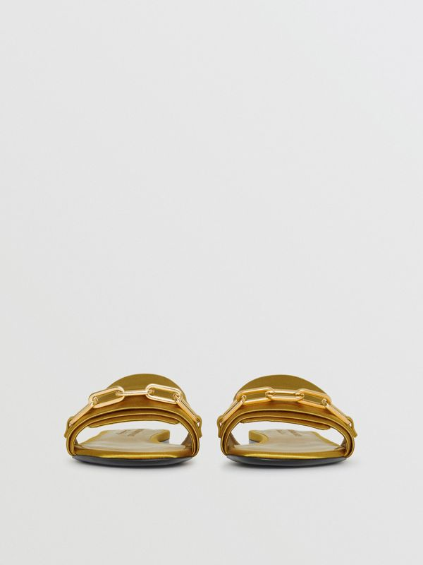 Link Detail Satin and Leather Slides in Antique Yellow - Women | Burberry United Kingdom - cell image 3