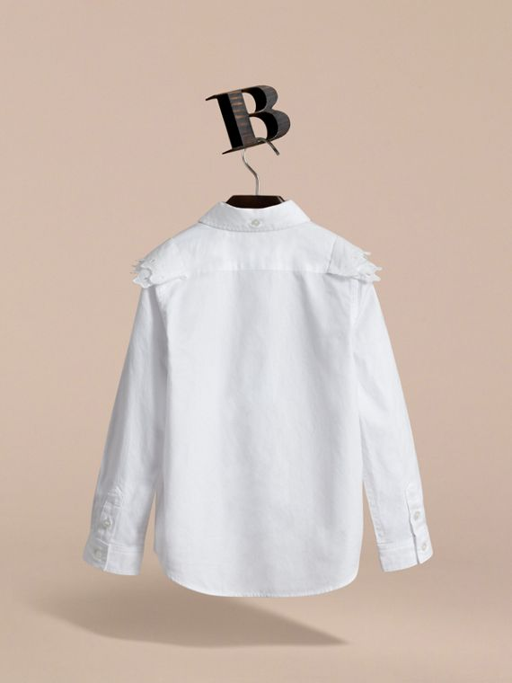 Broderie Anglaise and Lace Detail Cotton Shirt in White | Burberry - cell image 3