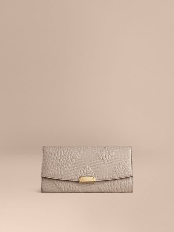 Embossed Check Leather Continental Wallet Pale Grey