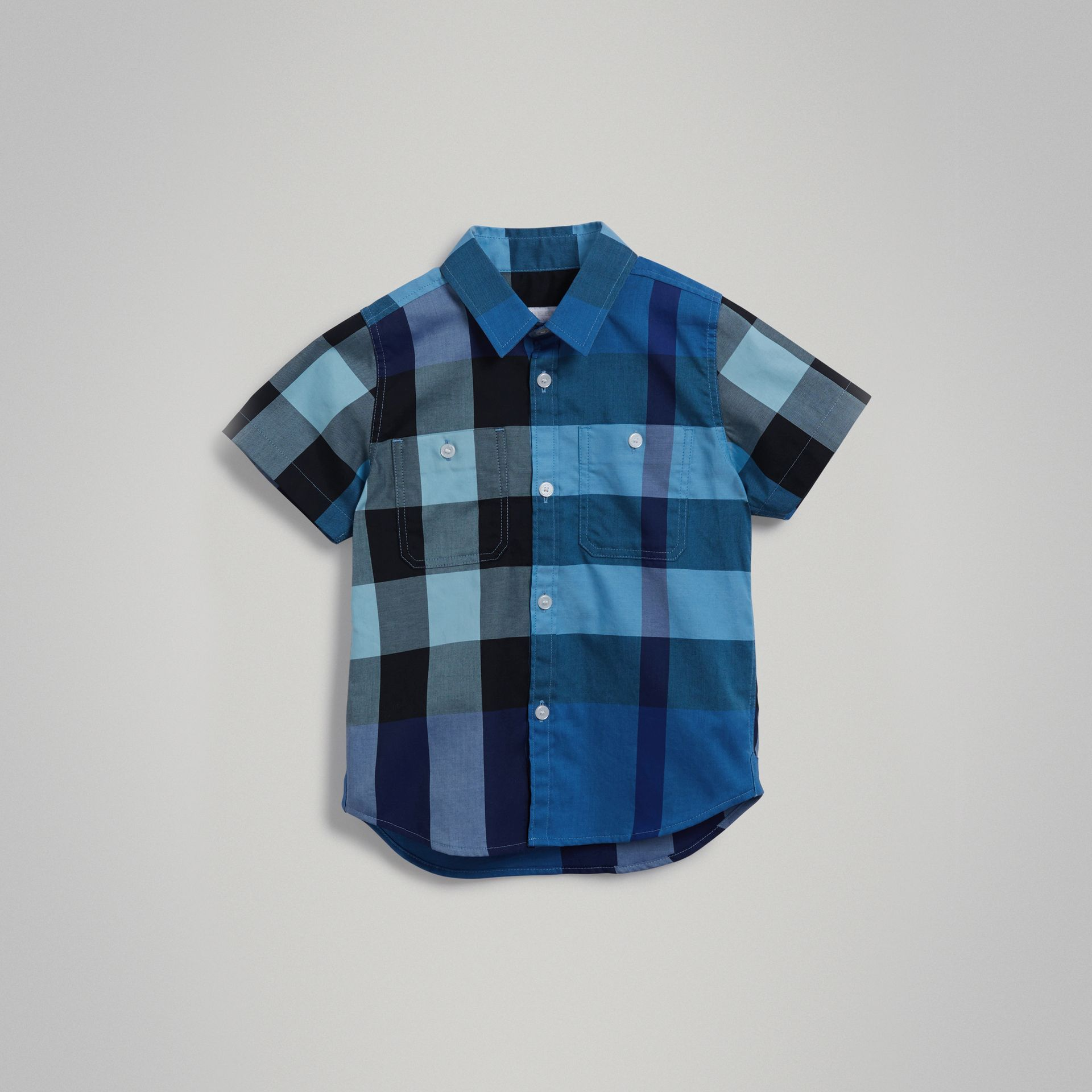 Short-sleeve Check Cotton Shirt in Light Azure | Burberry - gallery image 0