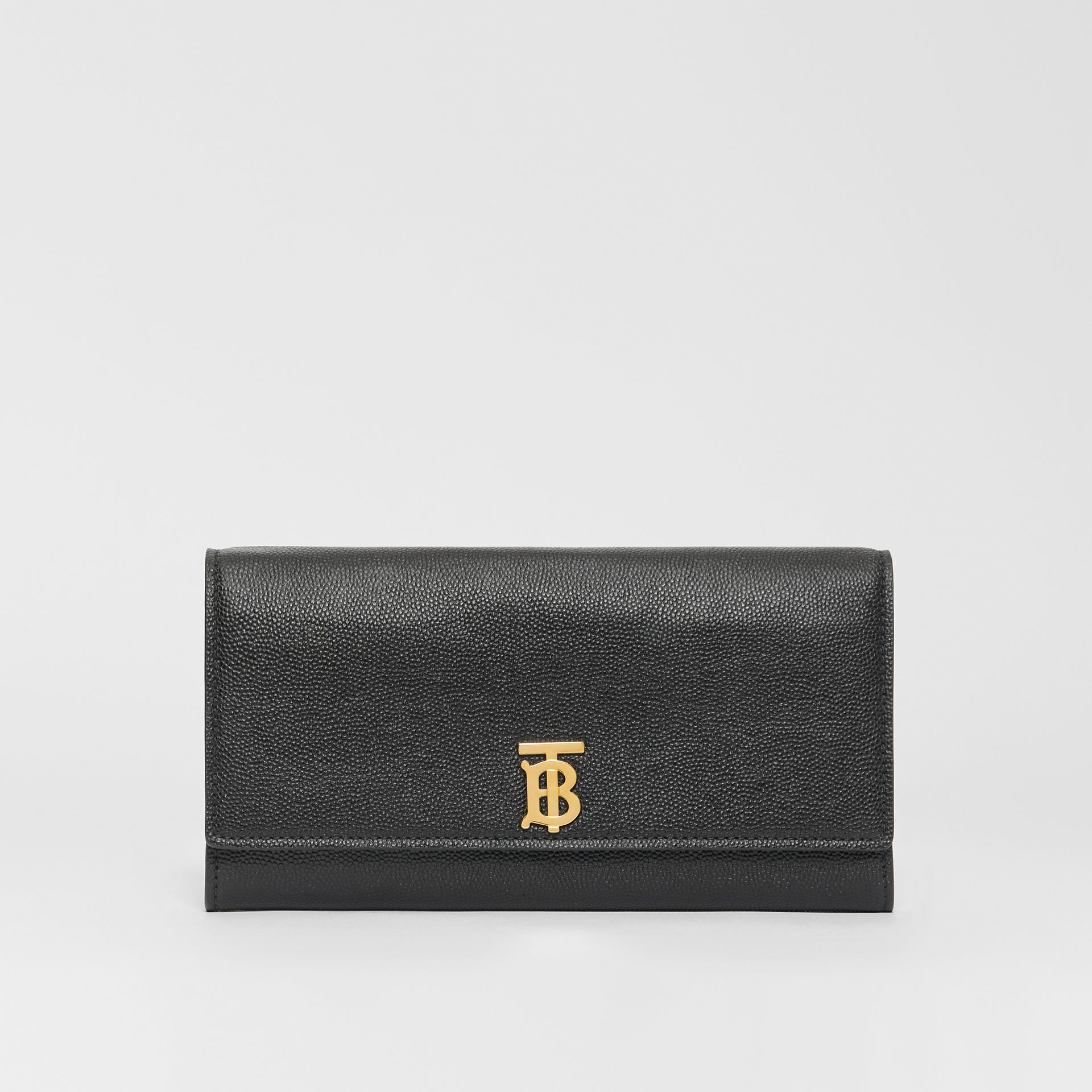 Monogram Motif Grainy Leather Continental Wallet in Black - Women | Burberry - gallery image 0