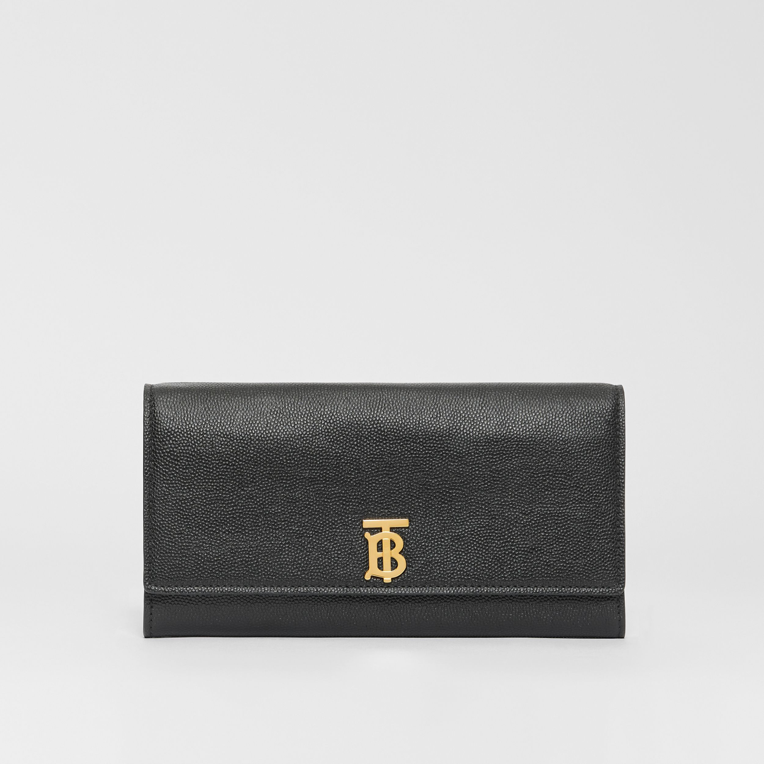 Monogram Motif Grainy Leather Continental Wallet in Black - Women | Burberry - 1