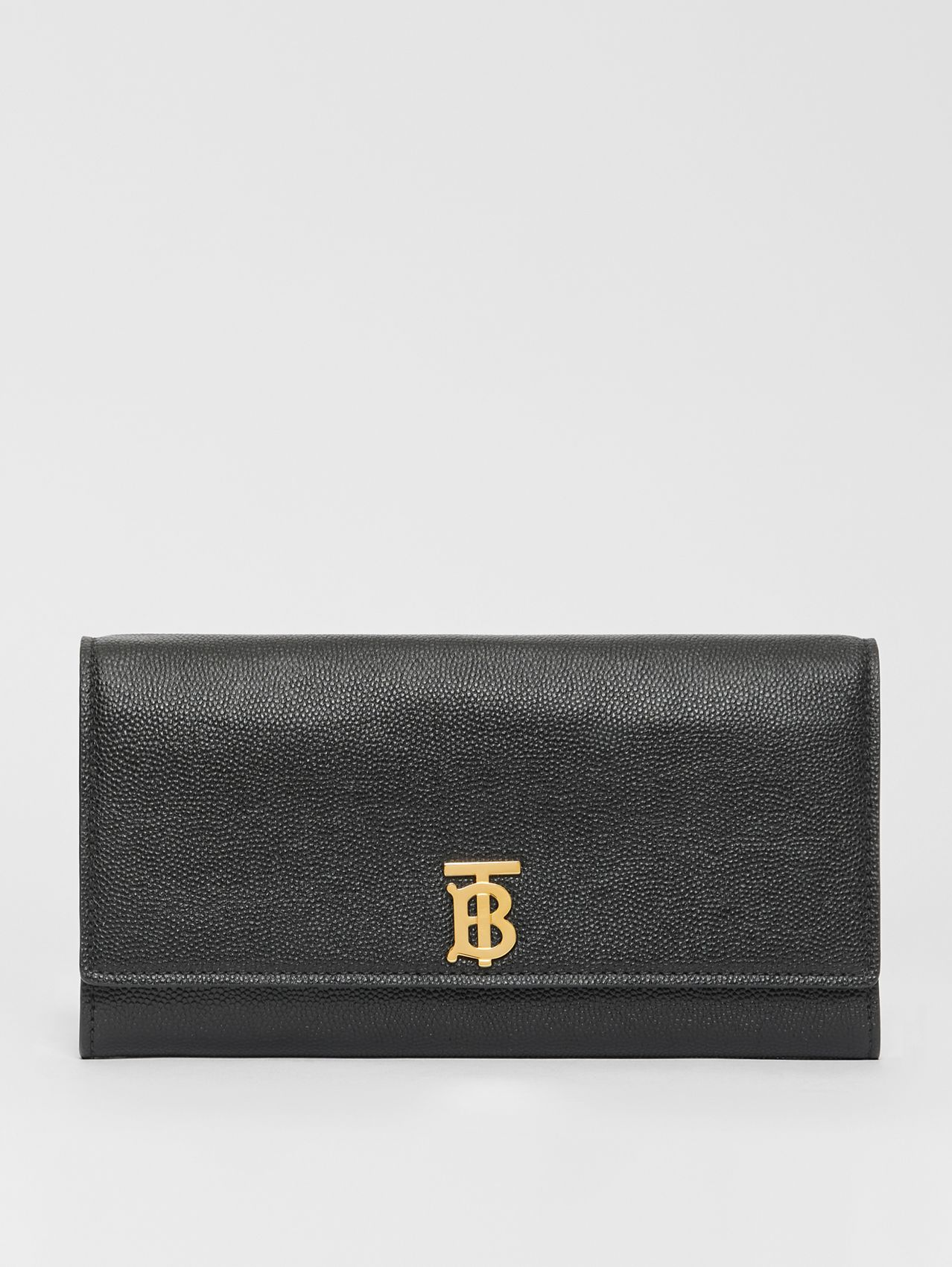 Monogram Motif Grainy Leather Continental Wallet in Black