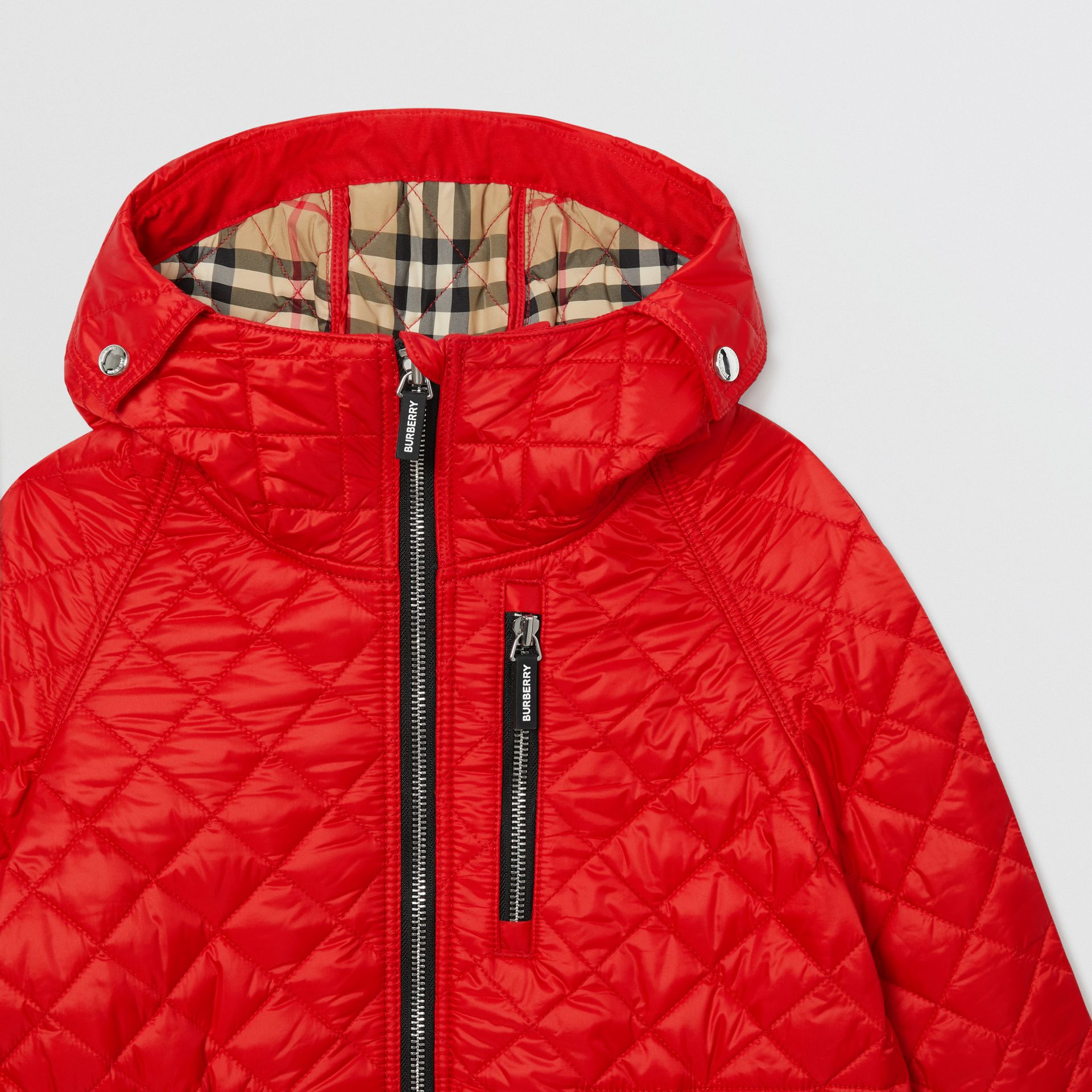 Diamond Quilted Hooded Coat in Bright Red | Burberry - gallery image 3