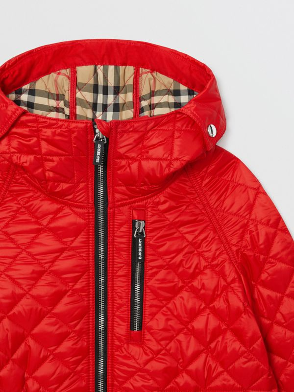 Diamond Quilted Hooded Coat in Bright Red | Burberry - cell image 3