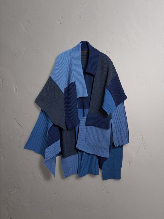Wool Cashmere Patchwork Poncho in Carbon Blue - Women | Burberry - cell image 3