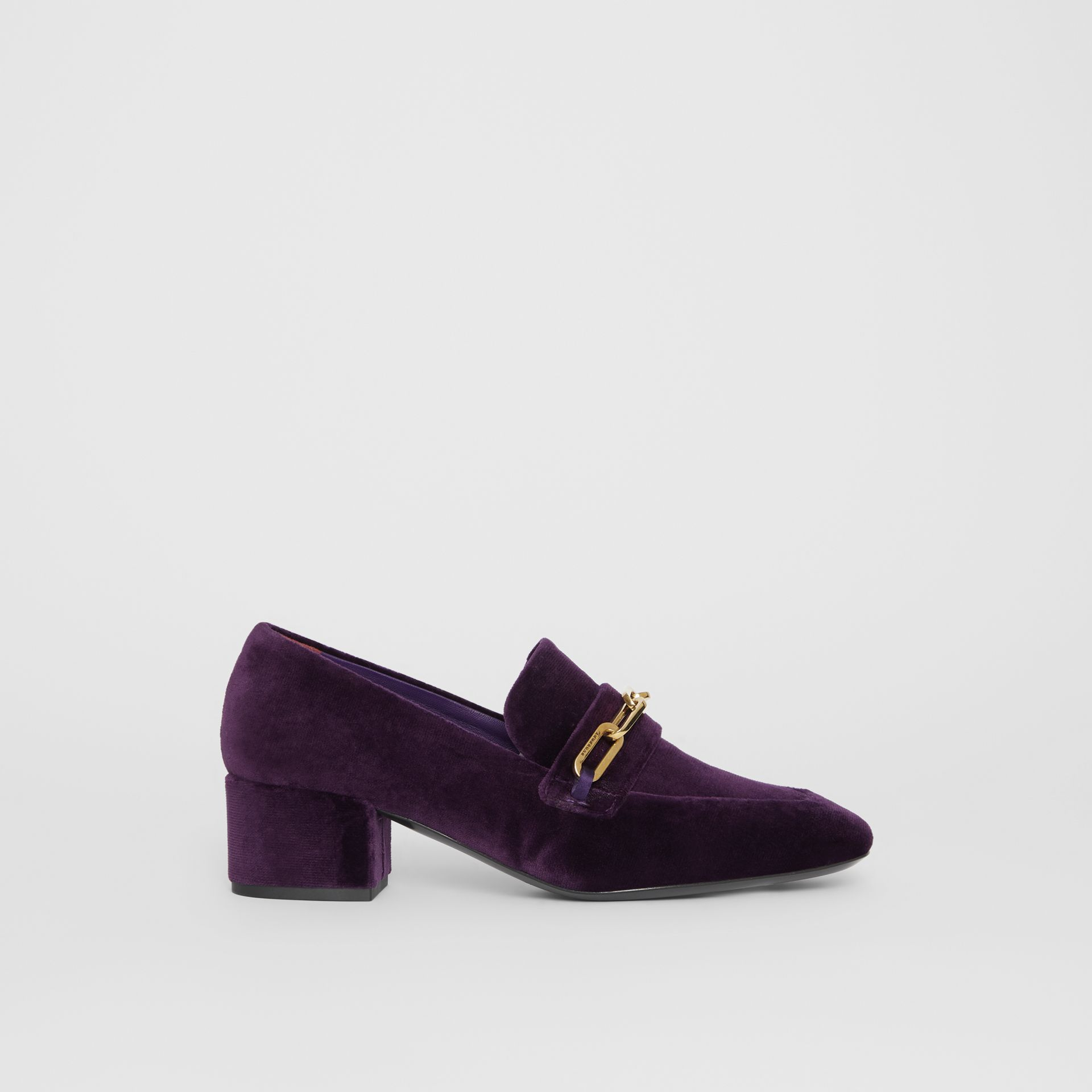 Link Detail Velvet Block-heel Loafers in Dark Elderberry - Women | Burberry - gallery image 5