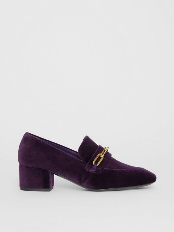 Link Detail Velvet Block-heel Loafers in Dark Elderberry