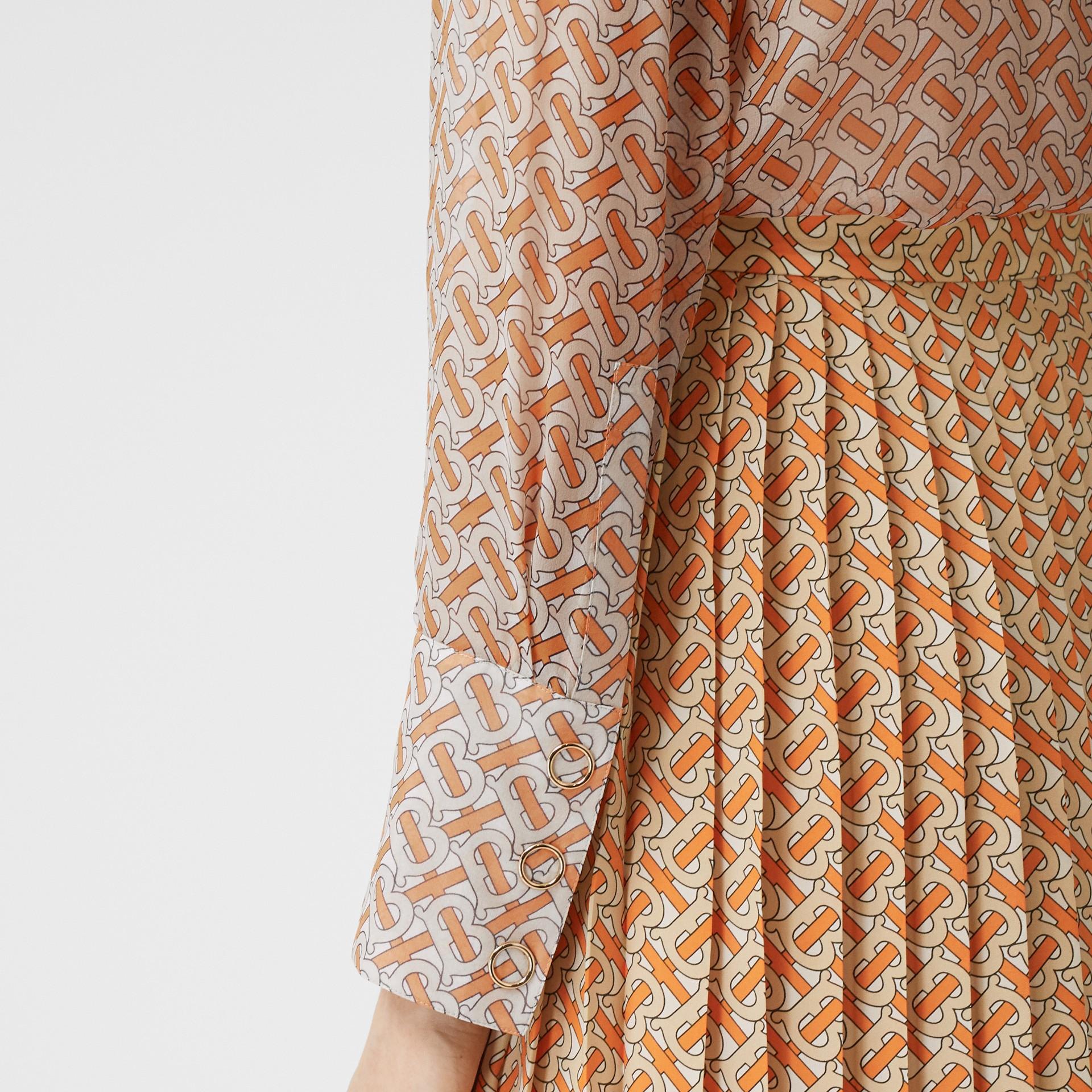 Monogram Print Silk Chiffon Pussy-bow Blouse in Bright Orange - Women | Burberry - gallery image 4