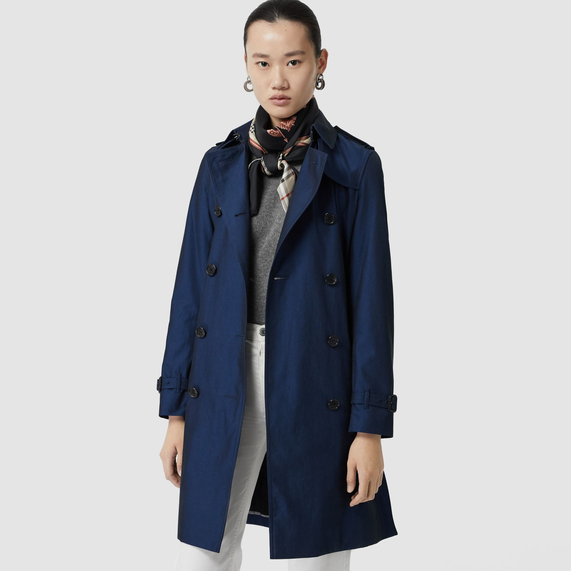Kensington Fit Tropical Gabardine Trench Coat in Bright Regency Blue - Women | Burberry United States - gallery image 6