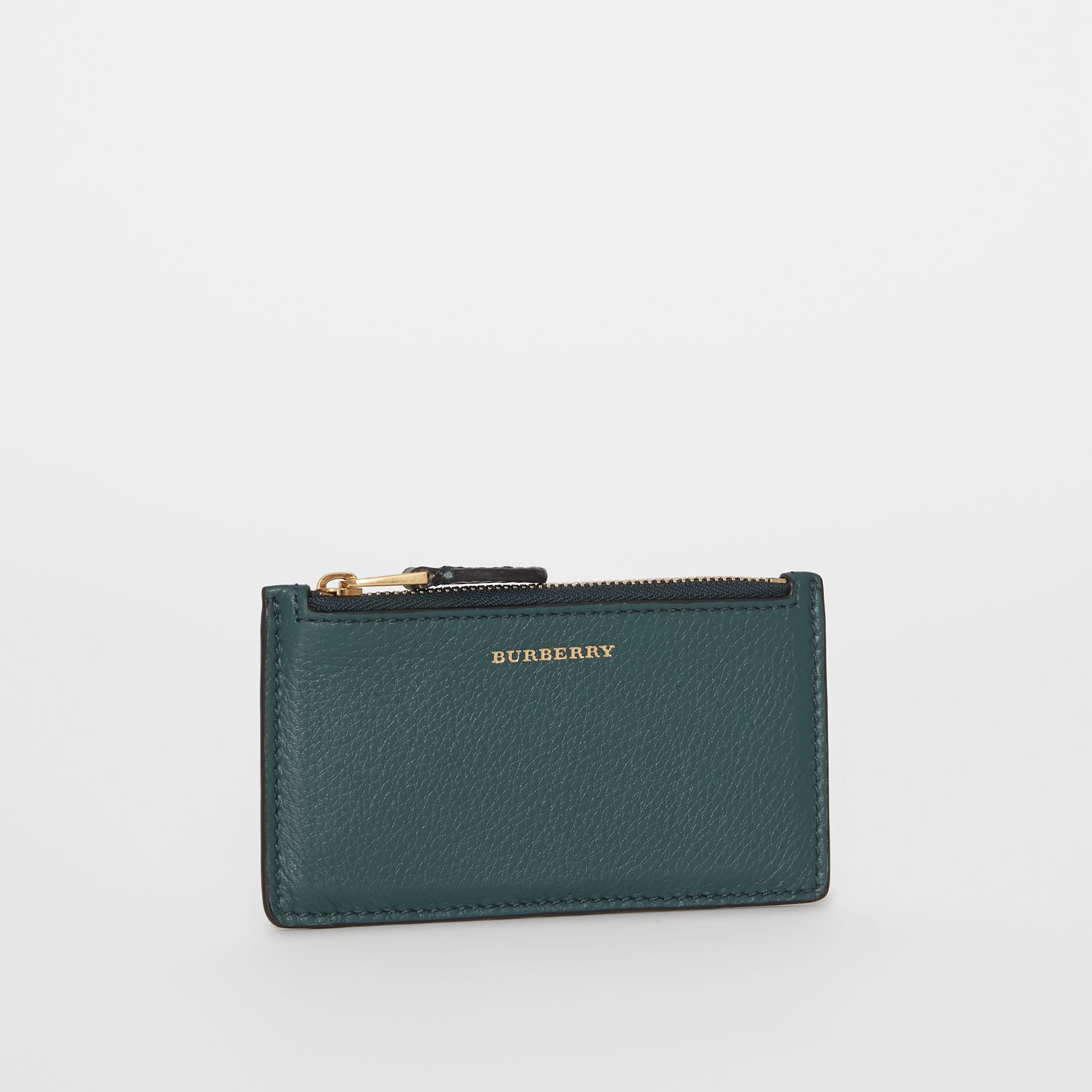 Two-tone Leather Zip Card Case in Dark Cyan | Burberry United Kingdom - gallery image 4