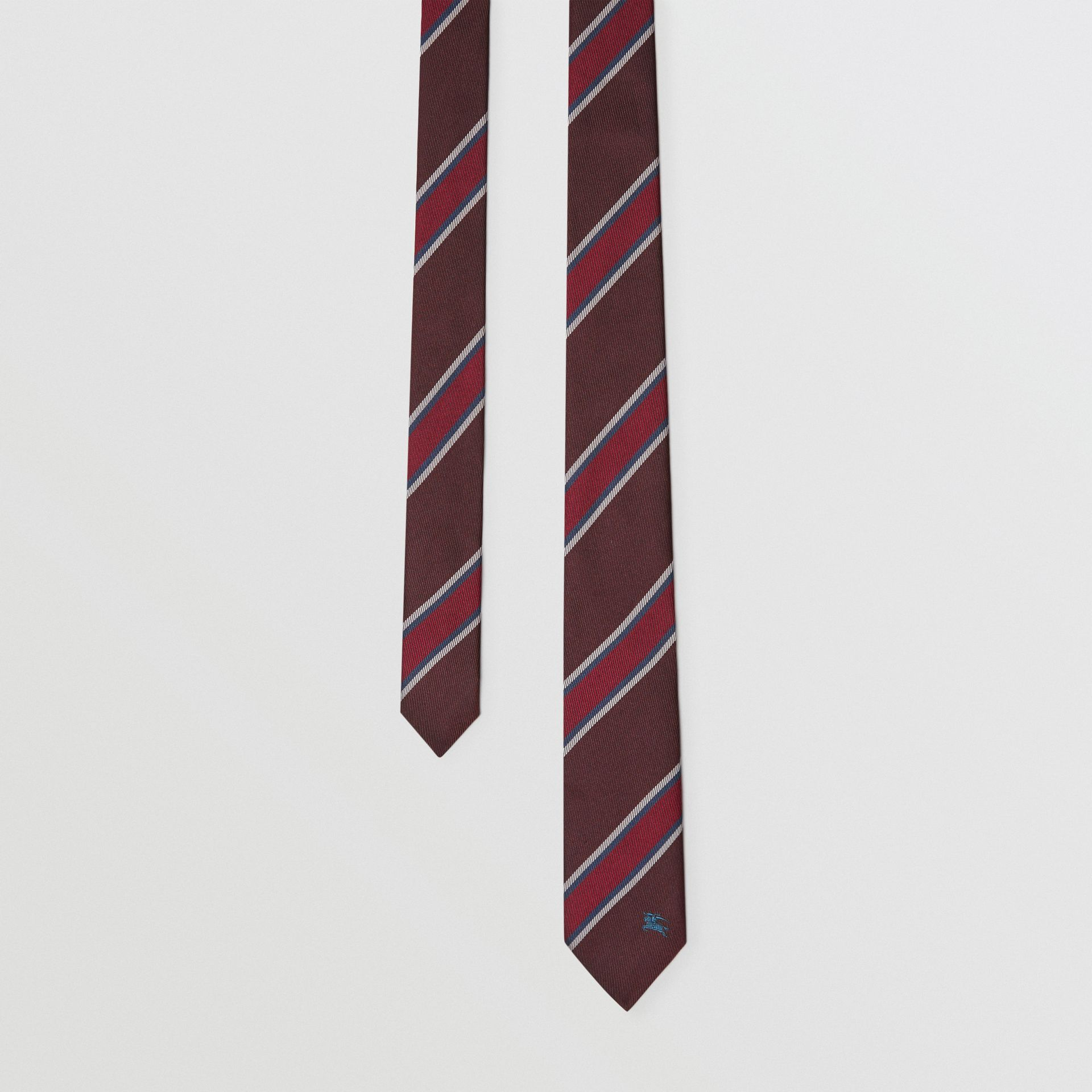 Slim Cut Striped Silk Jacquard Tie in Oxblood - Men | Burberry United Kingdom - gallery image 0