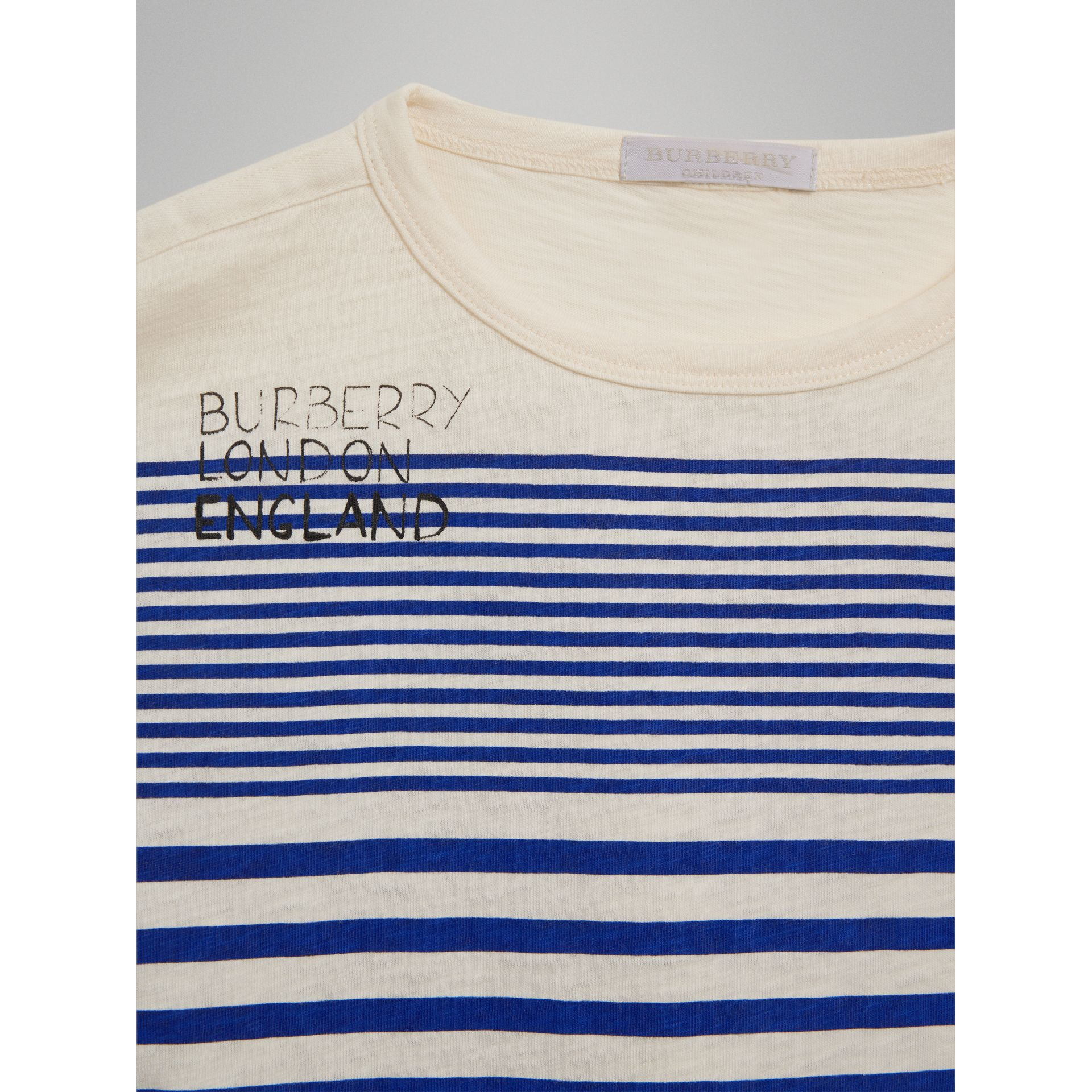 SW1 Print Striped Cotton Top in Bright Lapis/natural White - Boy | Burberry Singapore - gallery image 4