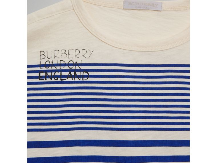 SW1 Print Striped Cotton Top in Bright Lapis/natural White - Boy | Burberry United Kingdom - cell image 4
