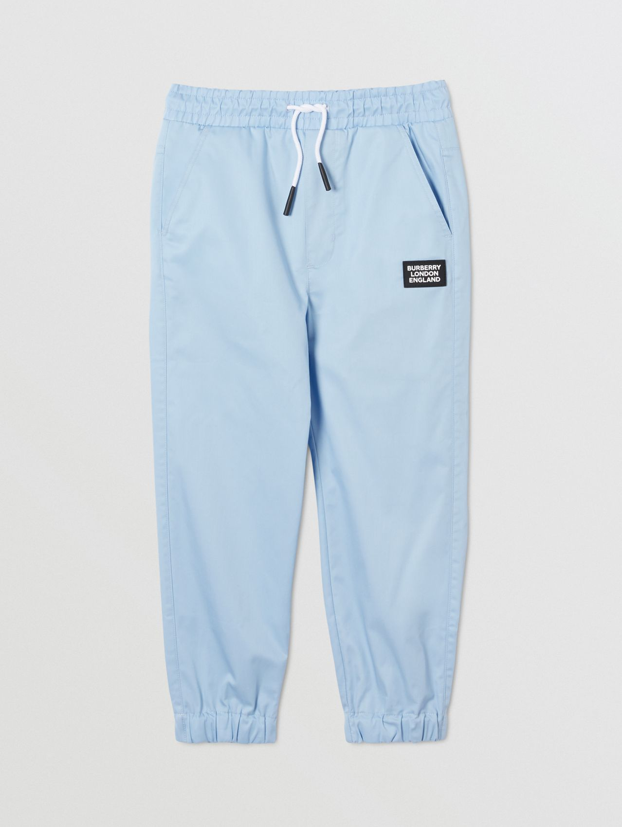 Logo Appliqué Cotton Twill Trackpants in Pale Blue