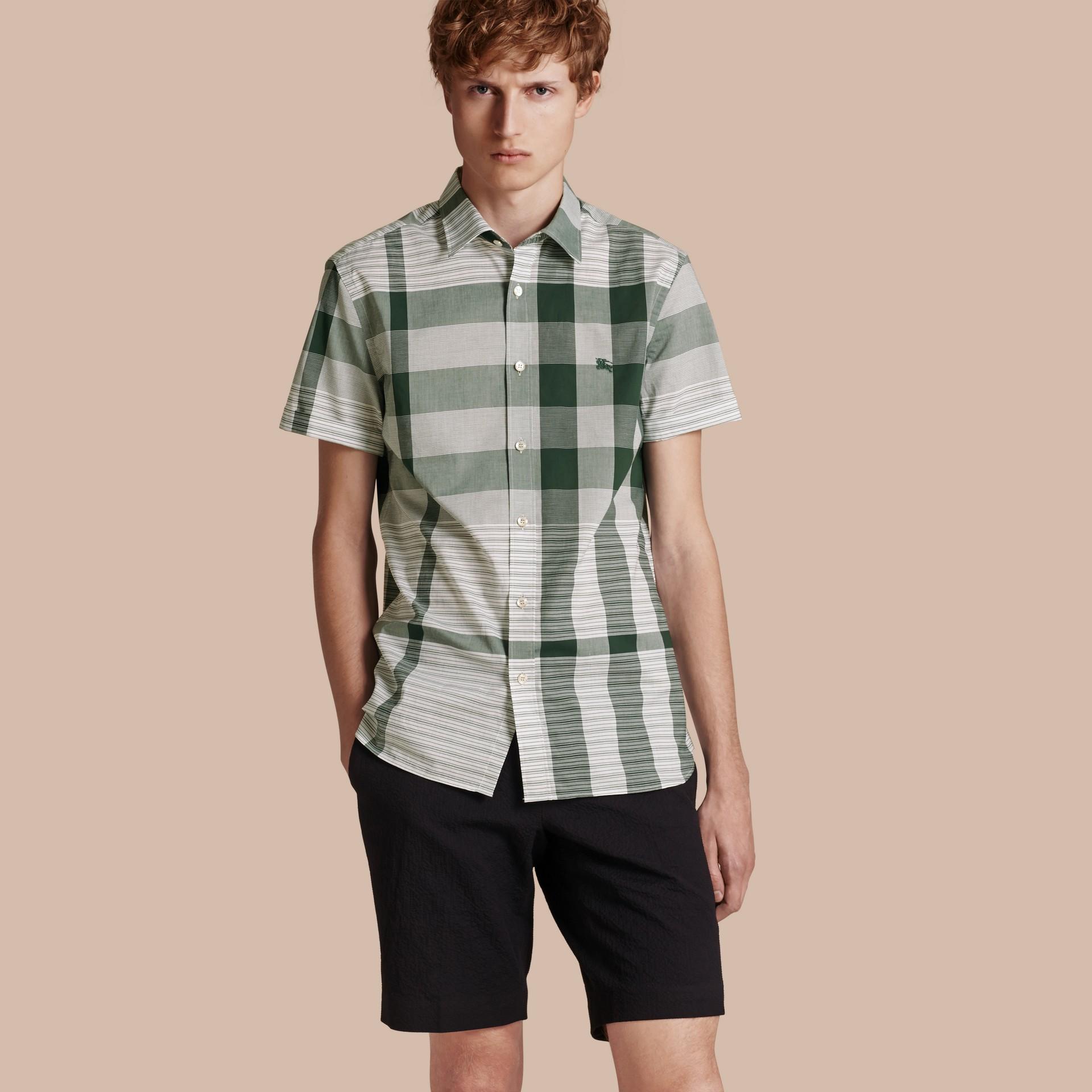 Short-sleeved Tonal Check Cotton Shirt Dark Bottle Green - gallery image 1