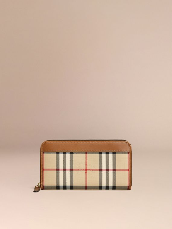 Horseferry Check Ziparound Wallet in Tan - cell image 2