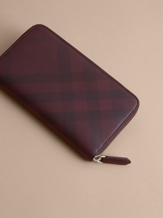 London Check Ziparound Wallet in Deep Claret - Men | Burberry Singapore - cell image 3