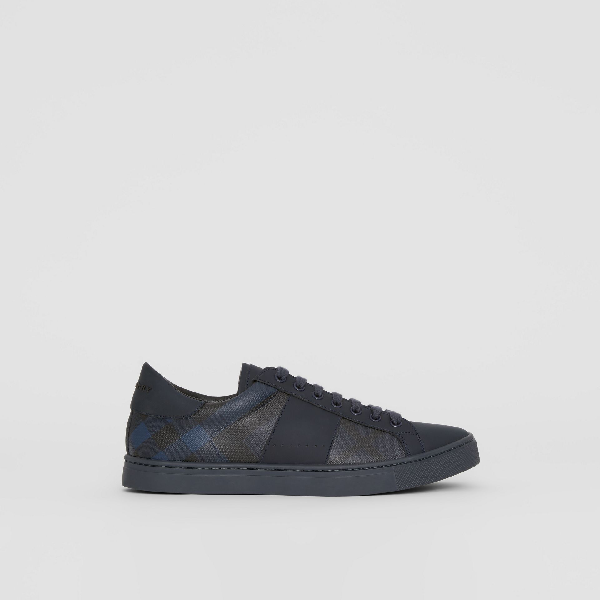 London Check and Leather Sneakers in Navy - Men | Burberry - gallery image 5