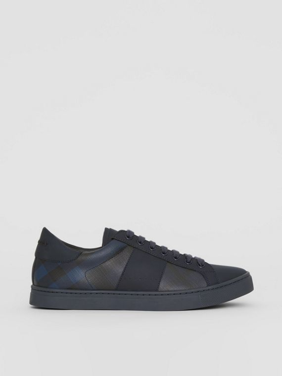 London Check and Leather Sneakers in Navy