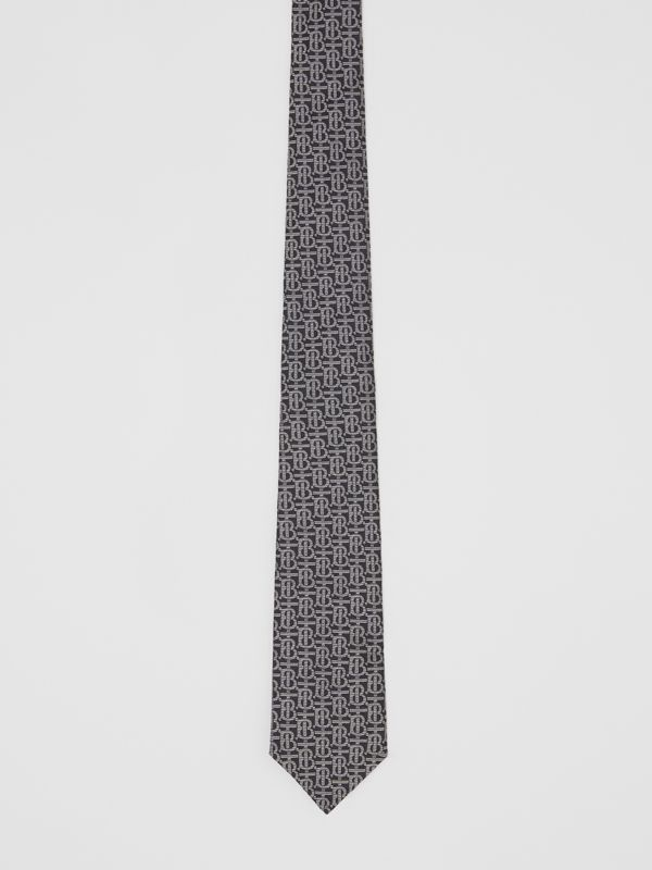 Classic Cut Monogram Silk Jacquard Tie in Mid Grey - Men | Burberry United Kingdom - cell image 3