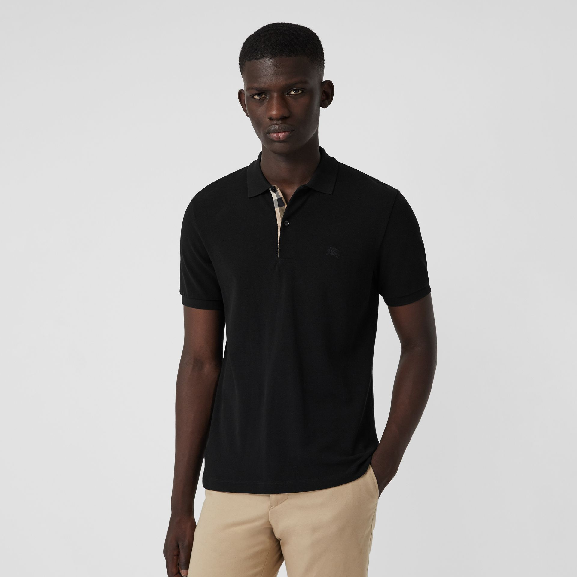 Check Placket Cotton Polo Shirt in Black - Men | Burberry - gallery image 4