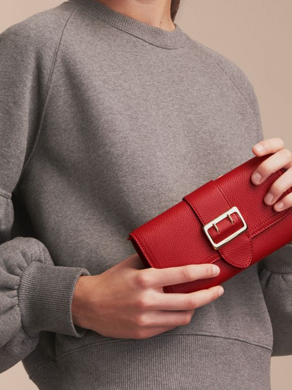 Textured Leather Continental Wallet in Parade Red - Women | Burberry Canada - cell image 2