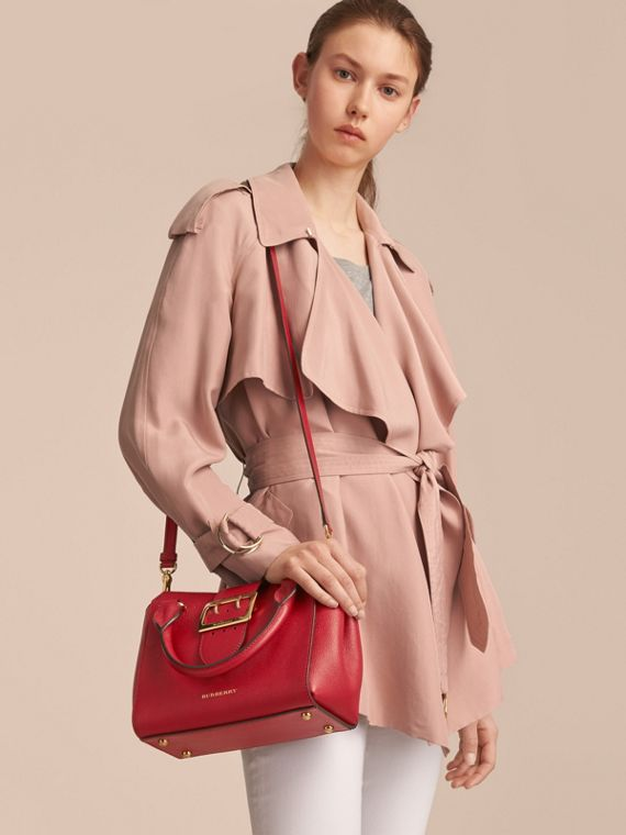 The Small Buckle Tote in Grainy Leather in Parade Red - Women | Burberry United States - cell image 2