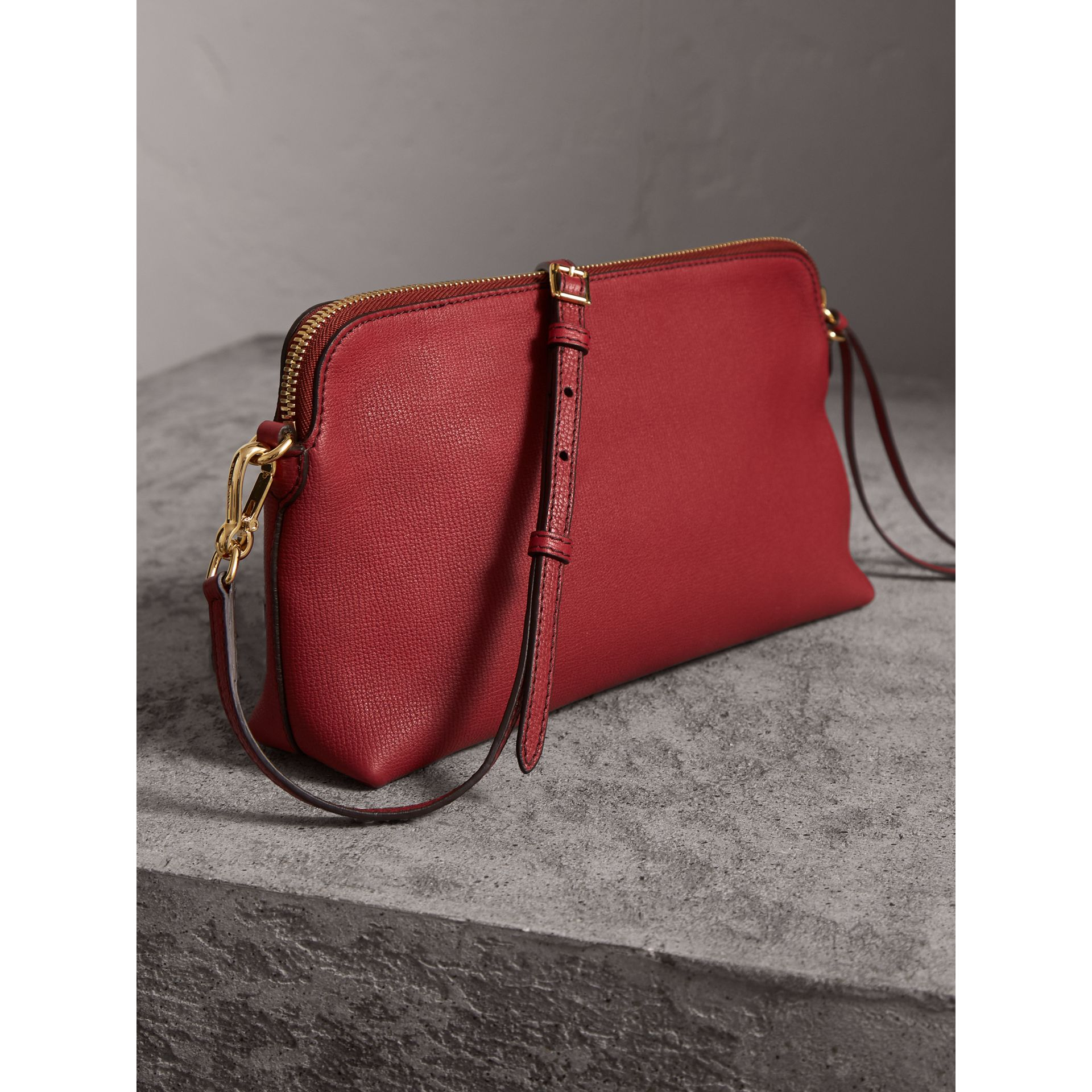 Grainy Leather Clutch Bag in Russet Red - Women | Burberry - gallery image 5