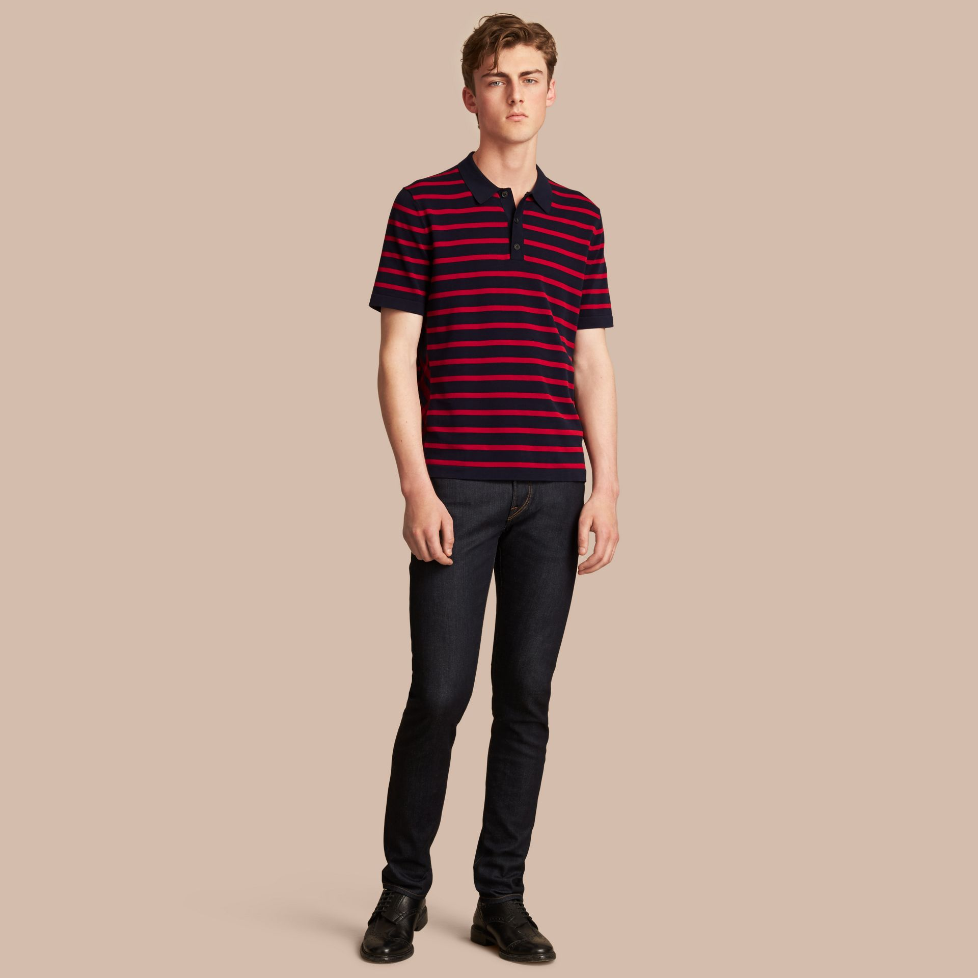 Breton Stripe Cotton Polo Shirt Navy - gallery image 1