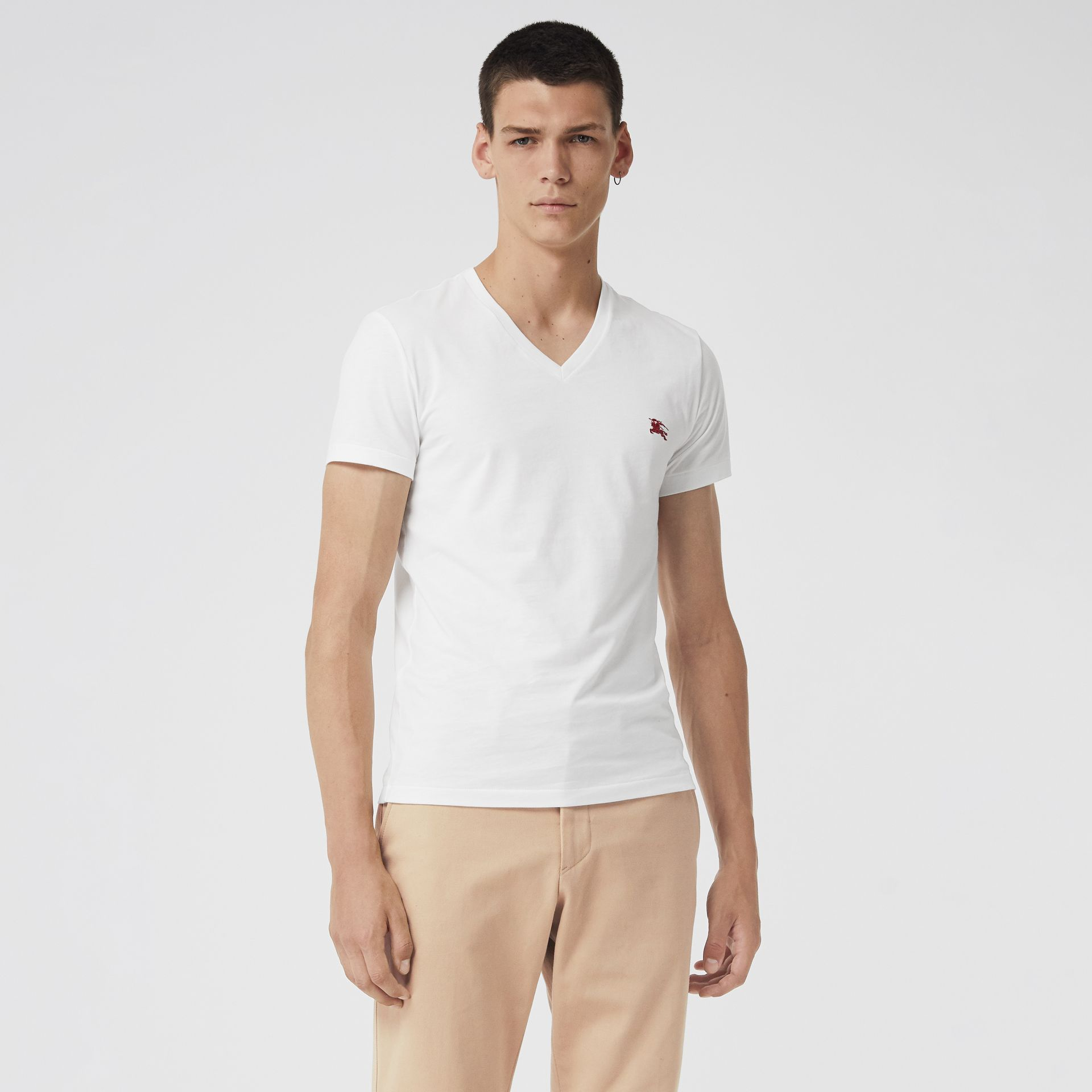 Cotton Jersey V-neck T-shirt in White - Men | Burberry United States - gallery image 0