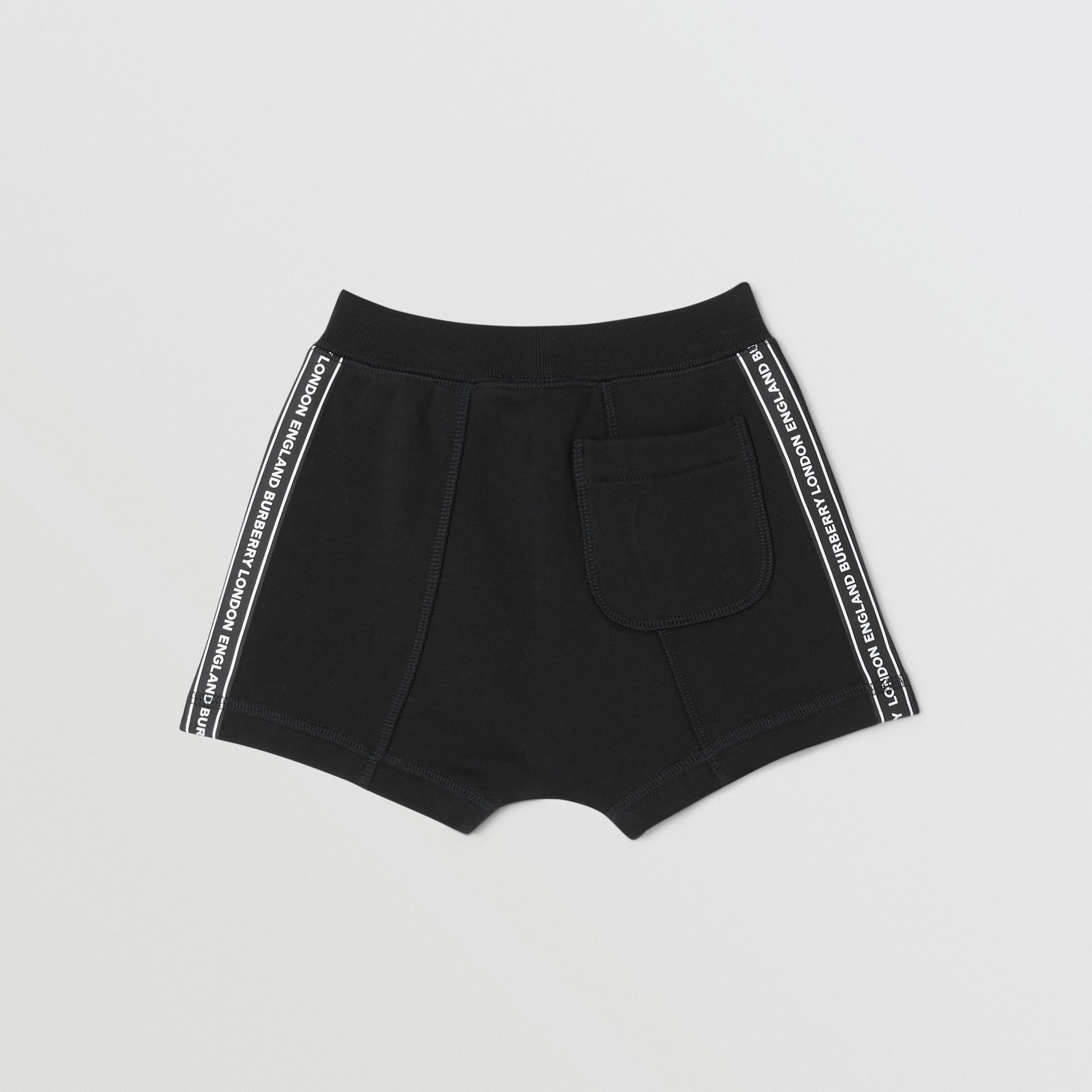 Logo Tape Cotton Drawcord Shorts in Black - Children | Burberry - gallery image 3