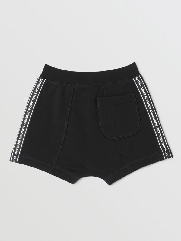 Logo Tape Cotton Drawcord Shorts in Black - Children | Burberry - cell image 3