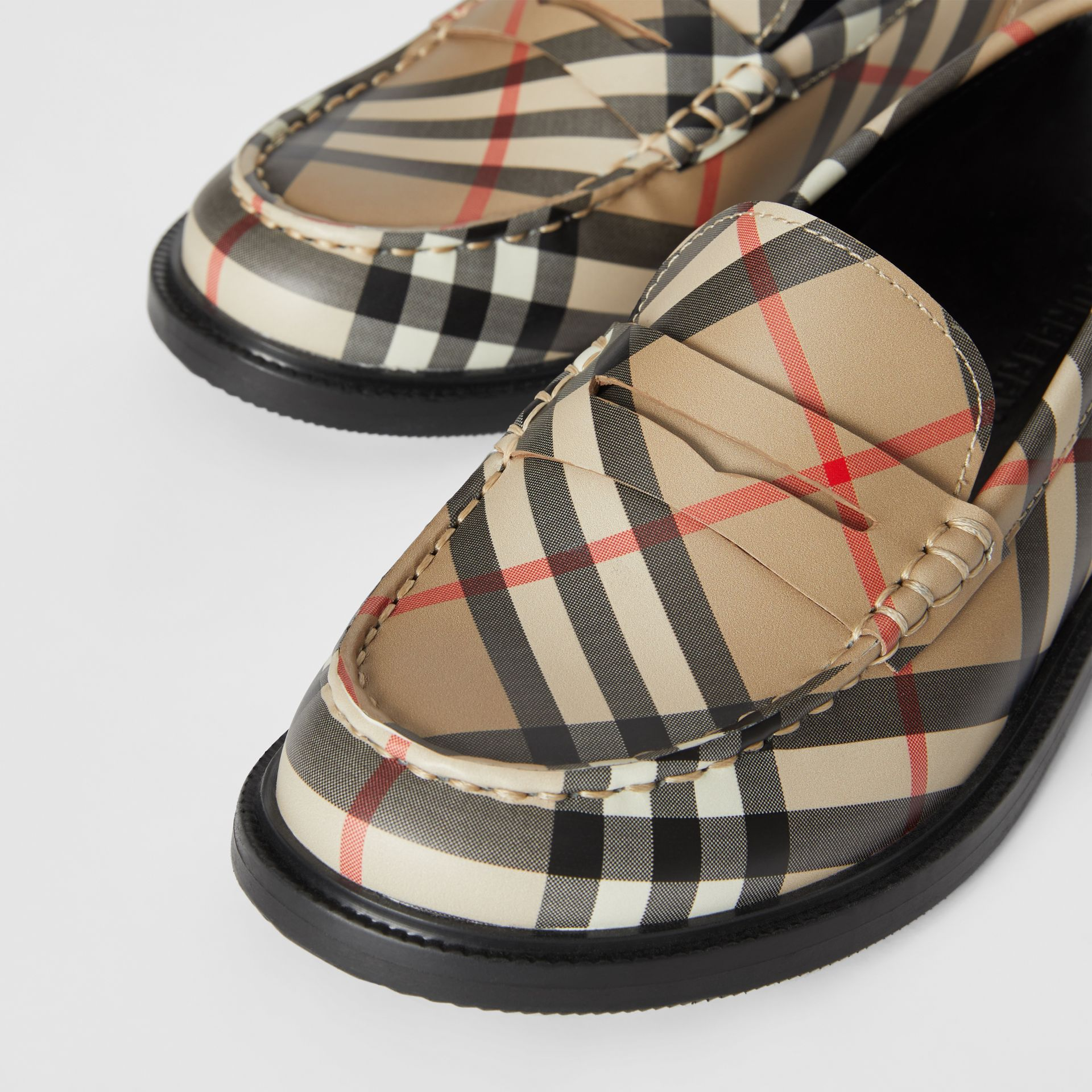 Vintage check Leather Loafers in Archive Beige - Children | Burberry - gallery image 1