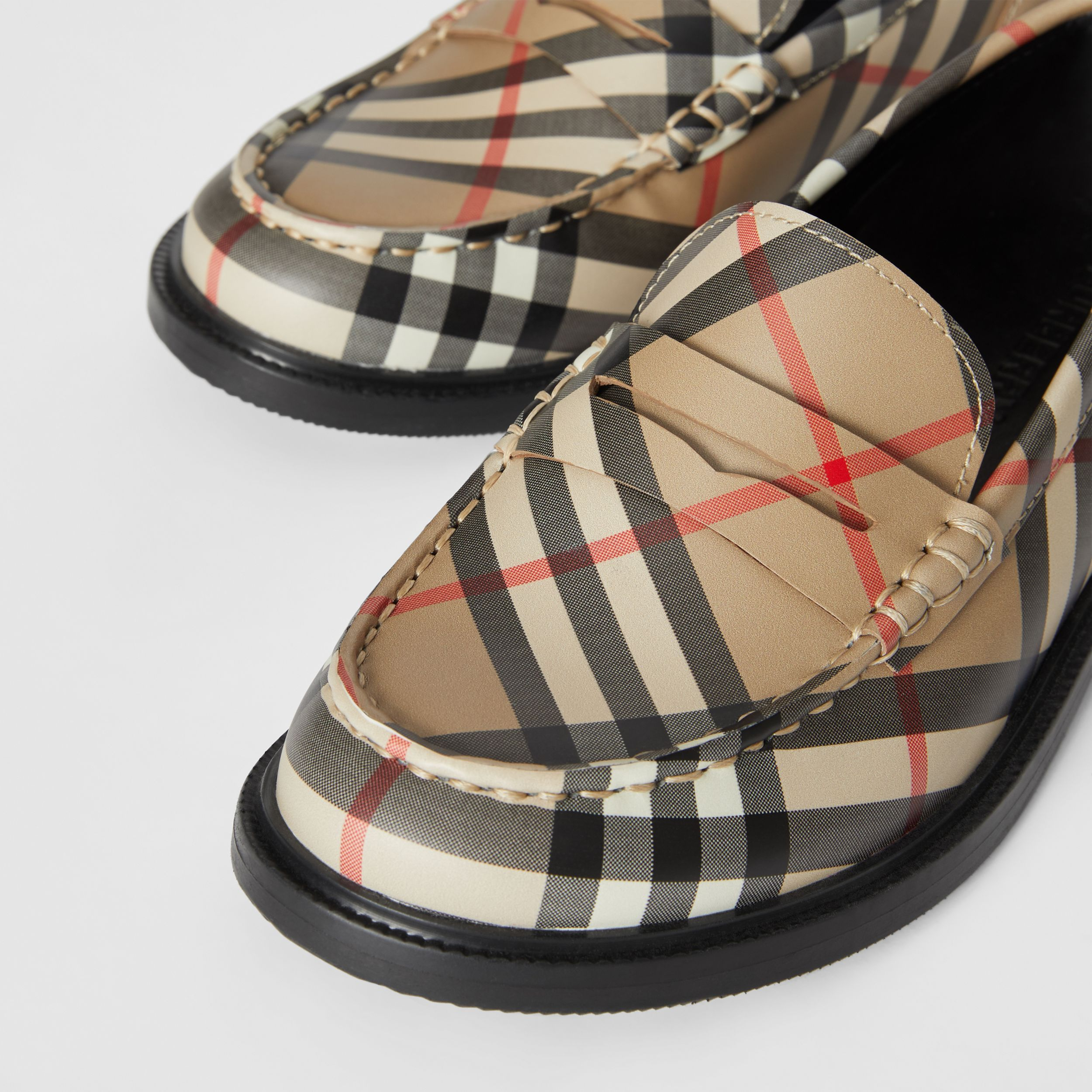 Vintage check Leather Loafers in Archive Beige - Children | Burberry - 2