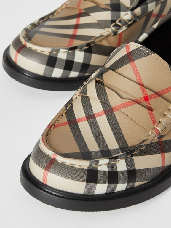 Vintage check Leather Loafers in Archive Beige - Children | Burberry United Kingdom - cell image 1