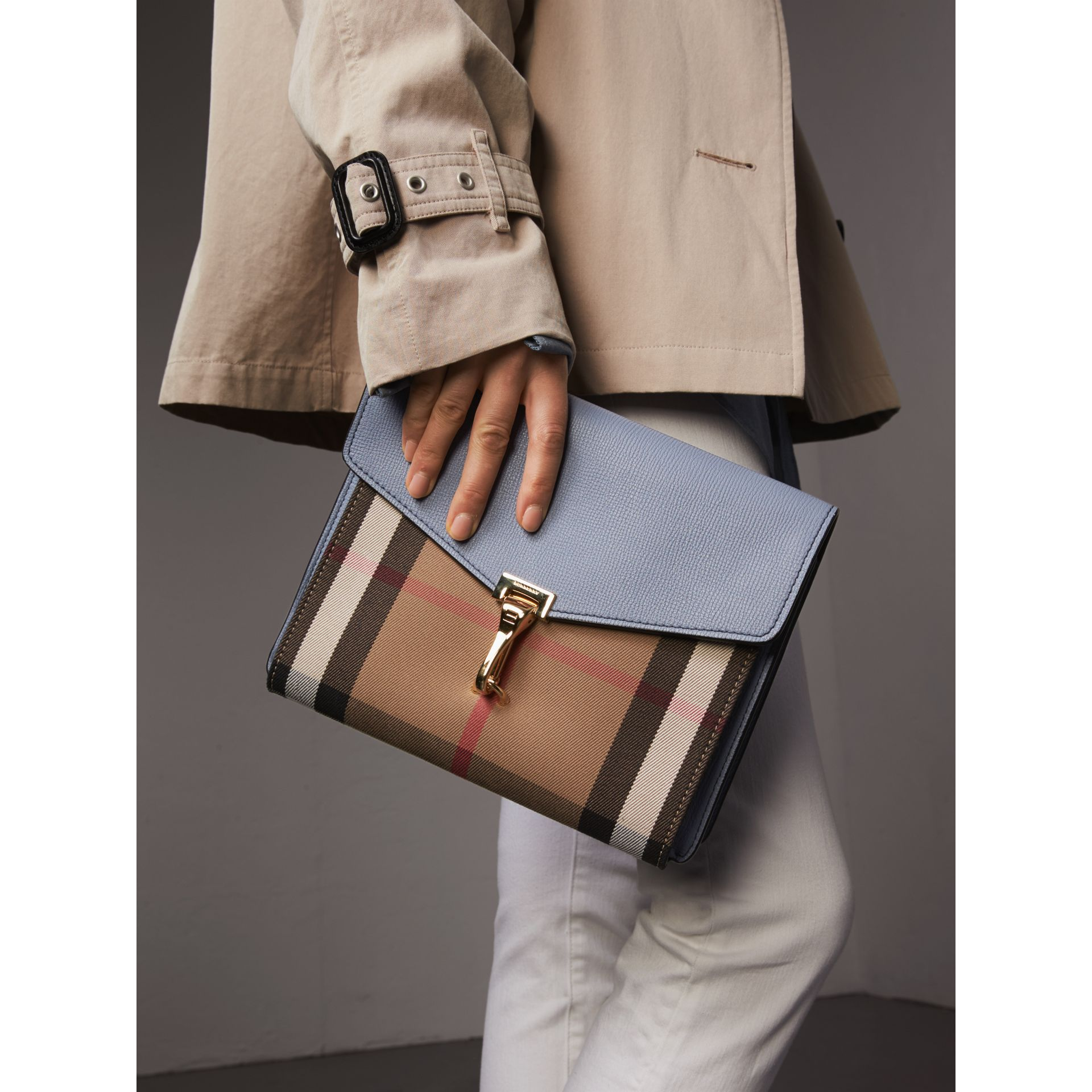 Small Leather and House Check Crossbody Bag in Slate Blue - Women | Burberry Australia - gallery image 3