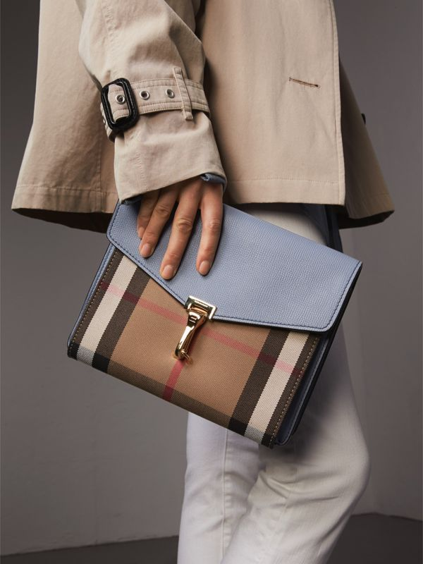 Small Leather and House Check Crossbody Bag in Slate Blue - Women | Burberry Australia - cell image 3