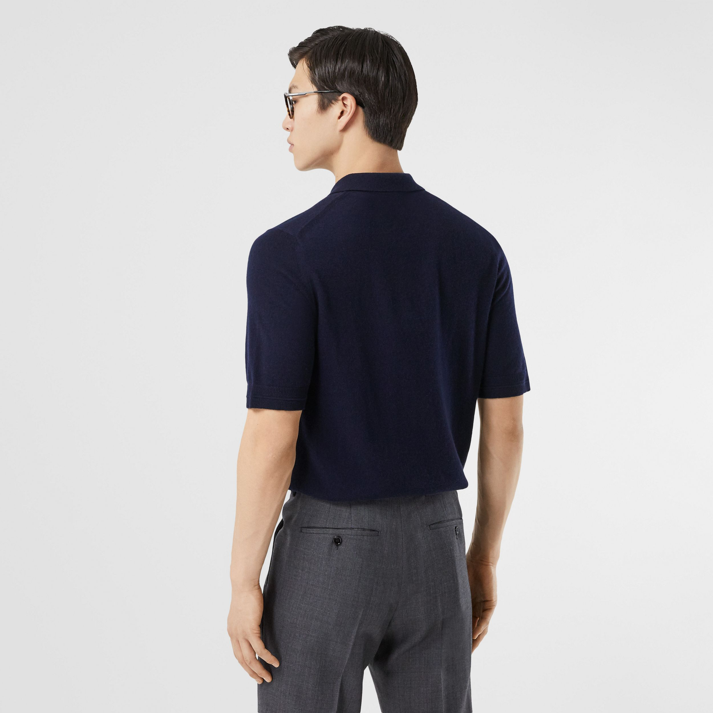 Monogram Motif Cashmere Polo Shirt in Navy - Men | Burberry - 3