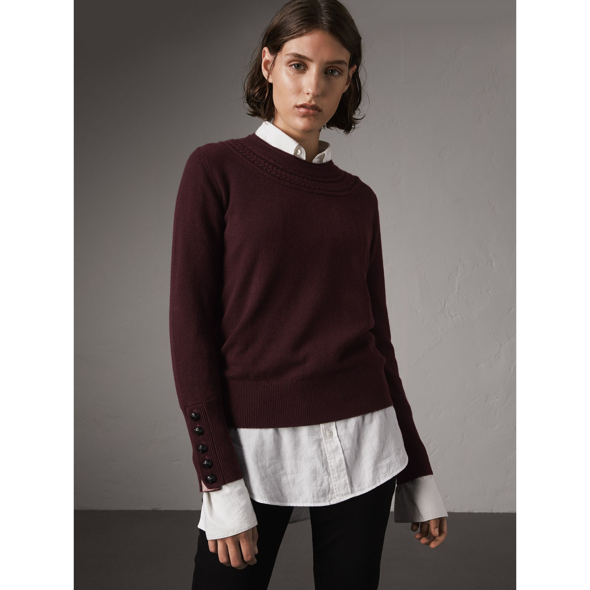 Cable Knit Yoke Cashmere Sweater in Deep Claret - Women | Burberry Hong Kong - gallery image 1