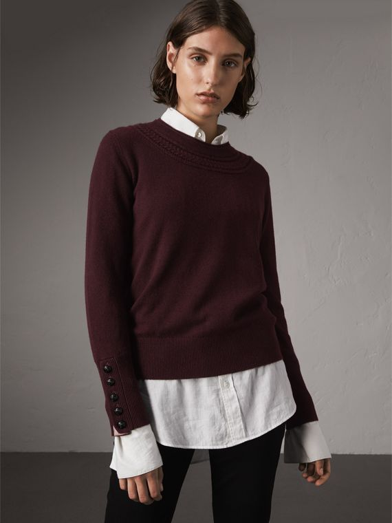 Cable Knit Yoke Cashmere Sweater in Deep Claret