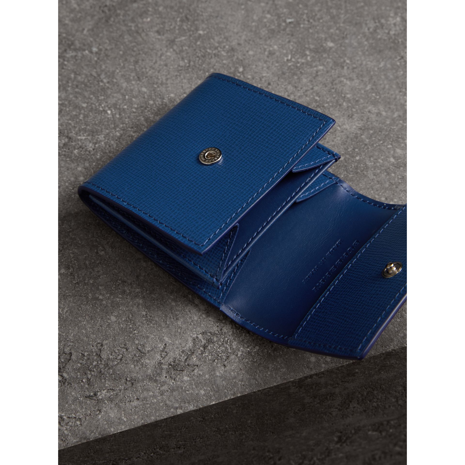 London Leather Coin Case in Deep Blue - Men | Burberry - gallery image 3