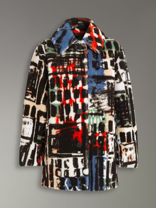 Graffiti Print Shearling Oversized Jacket in Steel Blue - Women | Burberry - cell image 3