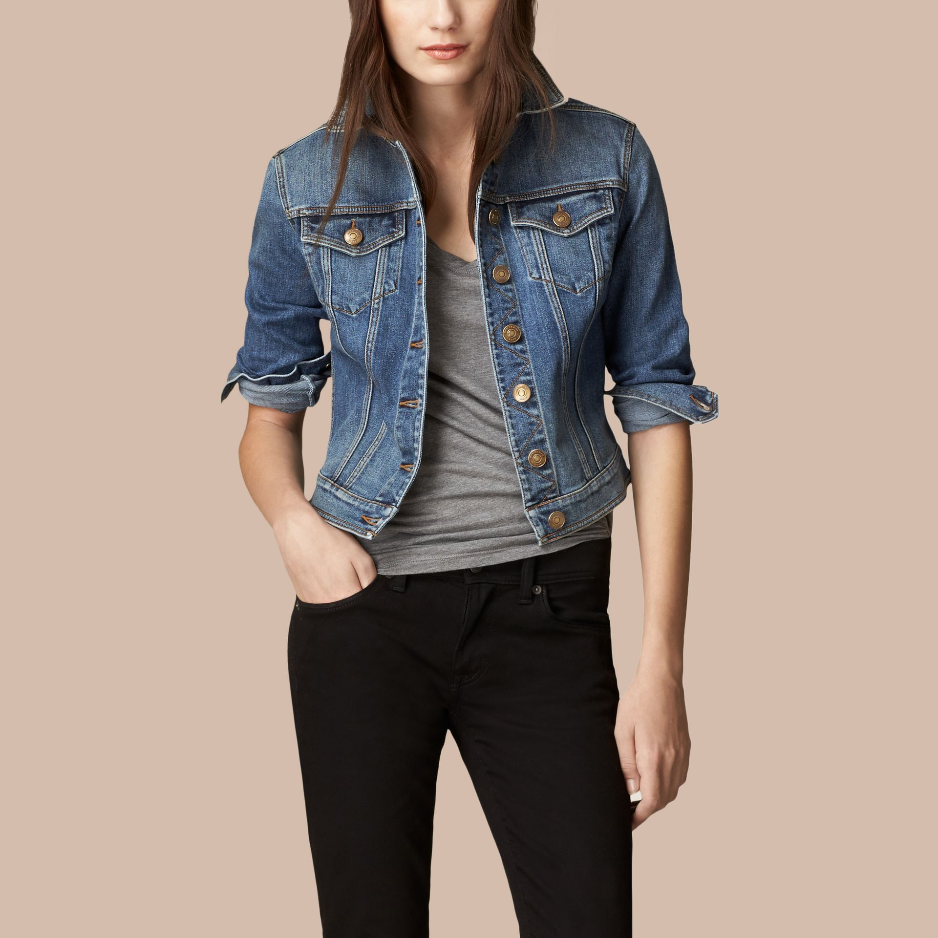 Mid indigo Check Undercollar Denim Jacket - gallery image 1