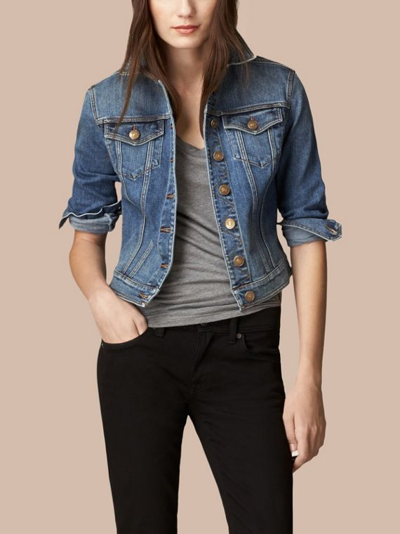 Check Undercollar Denim Jacket