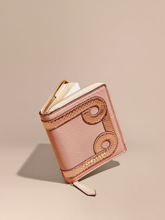 Ziparound Grainy Leather Mini Notebook with Snakeskin Border Pink Apricot