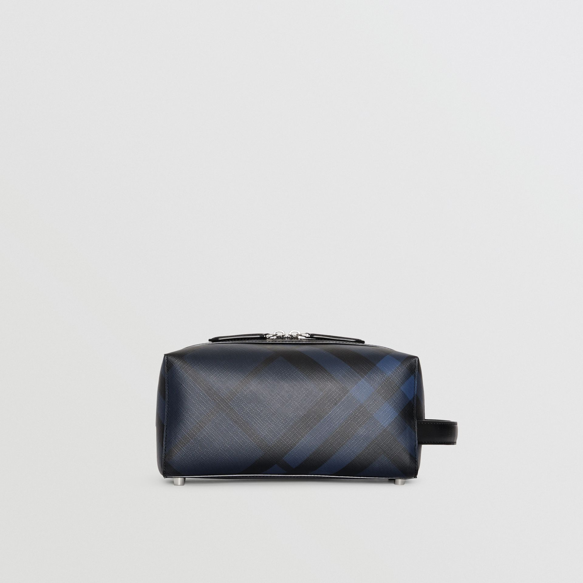 Trousse con pelle e motivo London check (Navy/nero) | Burberry - immagine della galleria 4